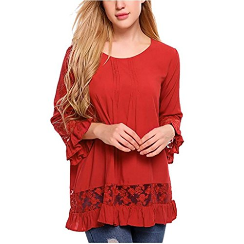 Sunnywill Damen Blusen Pullover Streetwear 3/4 Sleeve Speaker Sleeve Tops Lace Tops Bluse T-Shirt (Red, 2XL) (Red Sleeve 3/4 Top)