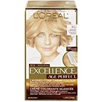 L'Oreal Paris Hair Color Excellence Age Perfect Layered-Tone Flattering Color Dye, 8G Medium Soft Golden Blonde, by L'Oreal Paris