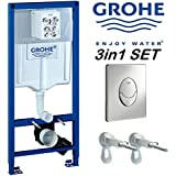 GROHE Rapid SL Cadre suspendu Chasse d'eau pour WC mural + Chrome Plaque Skate Air + supports