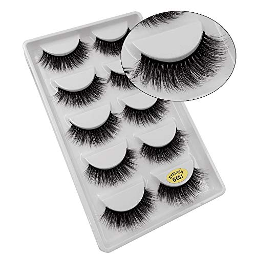 SMILEQ® 5 Paar Make-Up 3D Natürliche Dicke Falsche Wimpern Erweiterung (5 Paar, B)