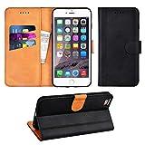 Adicase iPhone 6 Plus Hülle Leder Wallet Tasche Flip Case Handyhülle Schutzhülle für Apple iPhone 6 Plus / 6S Plus 5,5 Zoll (Schwarz)