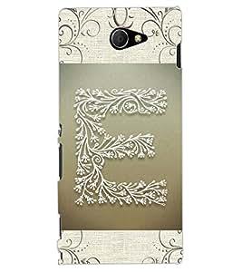 """ColourCraft Alphabet """"E"""" Design Back Case Cover for SONY XPERIA M2 DUAL D2302"""
