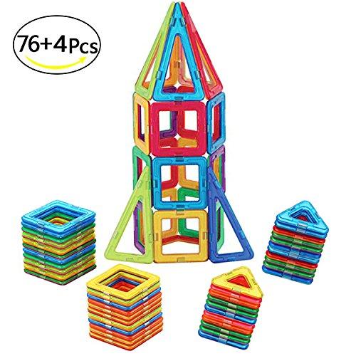 McDou Magnetische Bausteine, Mini Magnetische Bauklötze,Magnetische Konstruktionsbausteine,Tolles Geschenk Magnetspielzeug Lernspielzeug für Baby,Kleinkinder ab 3 Jahre (80PCS) - Stapeln Spielzeug Kinder
