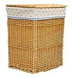 GMM® Cesto della biancheria la copertura rattan fodera in pizzo cestini lavanderia traspirante ecologico durevole arte cesti di vimini cesti da bagno giocattoli vestiti sporchi cesto di archivi A2 S