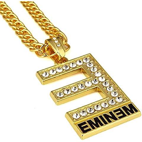 Nyuk Mens 18K real chapado en oro plata colgante collar e Hip Hop cadena