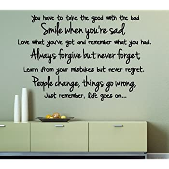 Vu0026C Designs Ltd (TM) Life Goes On Inspirational Quote Lounge Living Room  Kitchen Dining Room Hallway Bedroom Wall Sticker Wall Decal Wall Art Vinyl  Wall ... Part 93
