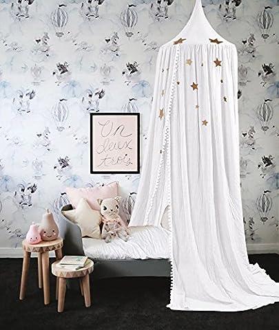 Baibu Deko Betthimmel Bettvorhang für Kinder,Moskitonetze Baldachin für Bett im Zimmer Weiß,verbessernd mit Venonat