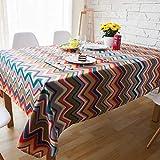 CHRISTMAD Tischdeckel Verdickung Tischdecke Verschleißfeste Tischschutztuch Tischdecken Baumwollhanf Tischwäsche Staubschutz Farbe Wellenmuster Jahr Geschenk,120 * 120cm