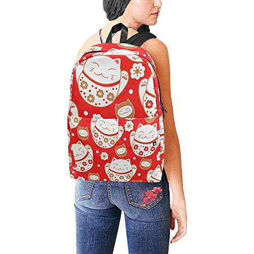 776e9bff Classic Cute Maneki Neko Lucky Fortunate Welcome Cat Waterproof Laptop  Daypack Bags School College Campus Backpacks