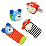 Lumanuby 4 Pcs/Set Soft Baby Toy Wrist Rattle Strap Socks Cute Donkey Monkey Panda Dog Cartoon Garden Bug Plush Rattle With Ring Bell Promote Baby's Vision, Hearing And Intelligence Development 6