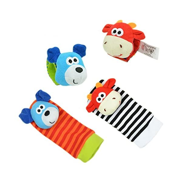 Lumanuby 4 Pcs/Set Soft Baby Toy Wrist Rattle Strap Socks Cute Donkey Monkey Panda Dog Cartoon Garden Bug Plush Rattle With Ring Bell Promote Baby's Vision, Hearing And Intelligence Development 3