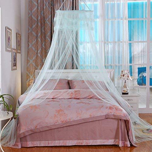 Lakote Rund Spitze Vorhang Kuppel Prinzessin Queen Bett Baldachin Moskito Netze Hohe Dichte Prinzessin Bett Netze - Aqua Grün