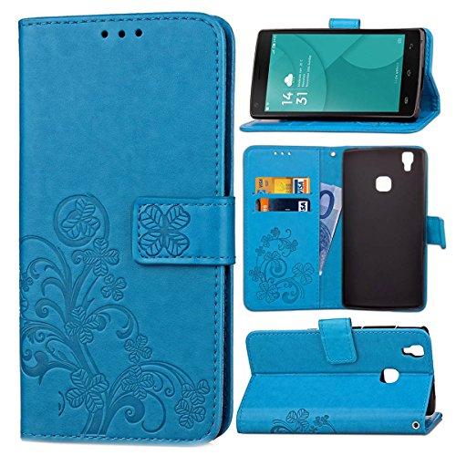 Guran® PU Ledertasche Case für Doogee X5 Max / X5 Max Pro Smartphone Flip Cover Brieftasche und Stent Funktionen Hülle Glücksklee Muster Design Schutzhülle - Blau
