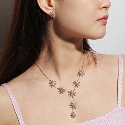 Deniferymakeup Hochzeit Brautschmuck Vergoldet Diamant Sonnenblumen-Halskette mit einem Paar Ohrstecker Sonnenblumen-Form Glitzer Blume Halskette und Ohrringe