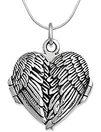 925 de plata de ley Collar con camafeo de alas a presión 45,72 cm