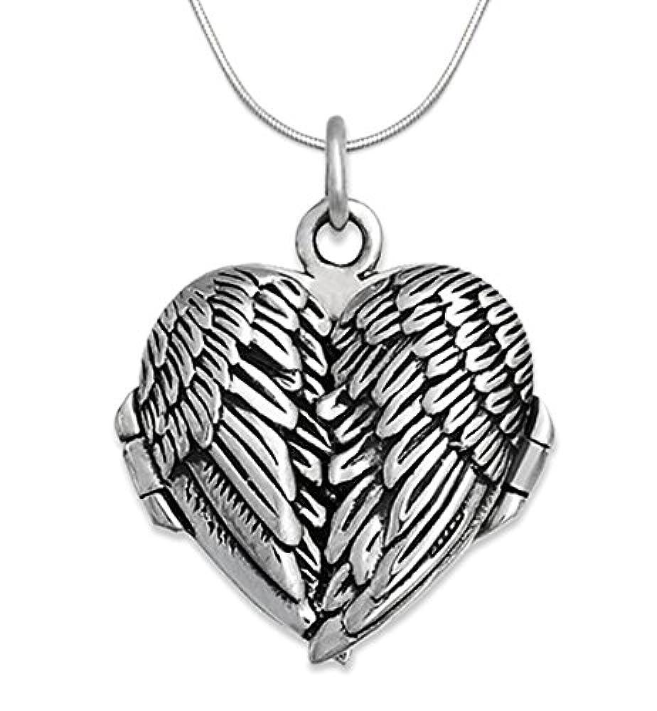 Medaillon in Herzform mit Engelsflügel-Design, Sterling-Silber 925 mit 40cm Silber Schlangenkette - Größe: 20 x 23 mm