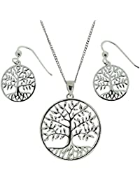 TOC Sterling Silver Round Tree Of Life Earring & Pendant Necklace Gift Set