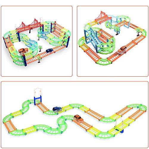 MAGIC GLOW TRACKS Paso a desnivel Twister Neon Glow Serie Circuito Coches de Juguete Toys para Ninos 3 4 5 6 7 Pista de carreras DIY Juguete construccion 169 piezas con 2 coches  3 plantas  5 metros
