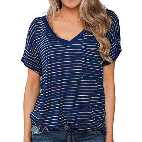 Beach Womens Raglan Hoodie (Kviklo Damen T-Shirt Kurzarm Bunt Gestreift V-Ausschnitt Top Tunika Slouch Tee(M(38),Blau))
