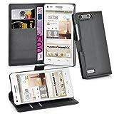 Cadorabo DE-102662 Huawei Ascend G6 Handyhülle mit Kartenfach und Standfunktion Schwarz