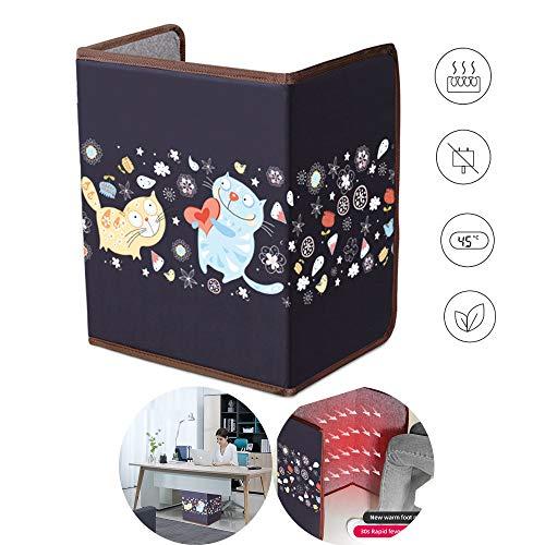 Roboraty Faltbare Ferninfrarot-Heizplatte mit Deckenfußwärmer, Flächenheizung Elektrische Heizung 3-Temp-Regelung 3 Stunden automatische Abschaltung Kippschutz Energieeffizient, 100x51 cm