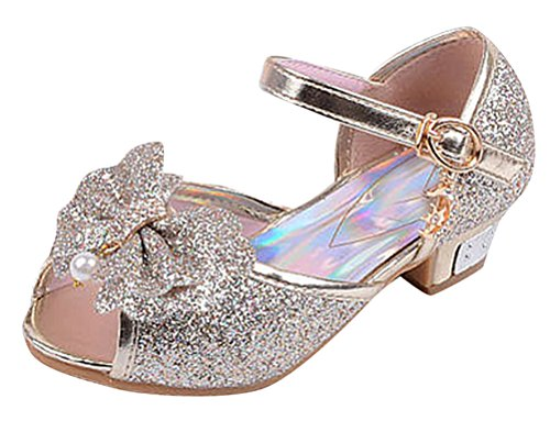 Et Strass Kostüm Paillette (SMITHROAD Kinder Mädchen Prinzessin Schuhe Peep-Toe Sandalen Giltzend Kostüm Ballerinas Paillette Absatz Bow Dekor Golden)
