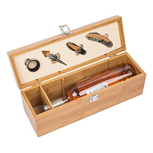 REFLECTS Weinset Weinflaschenbox Bambus Geschenkbox Ausgießer Tropfring Flaschenverschluss...