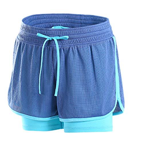 TianWlio Leggings Damen Frauen Running Damen Sporthose Anti Emptied Short Pants für Fitness Studio und Outdoor Fitness Body Blau S