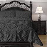 3 Piece Pinch Pleat Puckering Cozy All Seasons Duvet / Quilt Set by eLuxurySupply, UK King (228 x 233), Charcoal