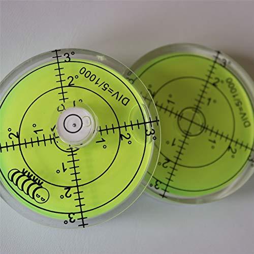 2 x Dosenlibelle - Große Acryl-Wasserwaage mit Luftblase in grüner Flüssigkeit, 60 mm Durchmesser, Gradzahlen - Acrylgehäuse, Boden-Wasserwaage, Bullseye, rund + 15mm Durchmesser