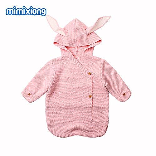 Hochwertiges Produkt mit-Kinderwagen Schlafsack, Frühling Herbst Neugeborenes Baby Knitted Swaddle Wrap mit Umschlägen für Kleinkinder, 0–1Y, rosa