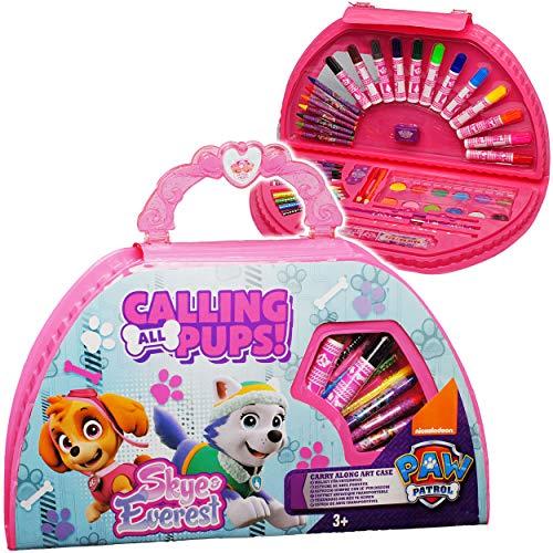 51 TLG. Set - XL Stifte-Koffer - Paw Patrol - Hunde - Malkasten - Malkoffer mit Stiften + Filzstifte + Buntstifte + Wasserfarben + Wachsmal Farben + Pinsel - .. ()