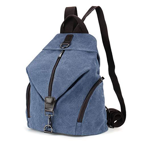 JOSEKO Frauen Leinwand Rucksack, Canvas Tasche Rucksäcke Damen Umhängentasche Große Kapazität Reisetasche Vintage Schultasche für Reise Outdoor Schule (Dunkelblau) -