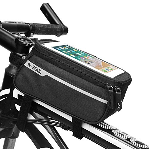 Leezo Wasserdichte Fahrradrahmen Tasche, Fahrrad Oberrohr Pouch Bike Lenkertasche Outdoor Radfahren Bike Bag für Smartphone (6 Zoll) - 4 Farben