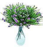 SFTlite 6 Bündel Künstliche Gladiolen Blumen Hochzeit Home Decor Geschenk - Kunstblumen Grün Blätter Arrangement Home Garten Büro Veranda Hochzeit Pflanzenwand Deko Blumen - Violett