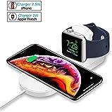 ATETION Caricabatterie Wireless per Apple Watch, Supporto per Caricabatterie 2 in 1 Compatibile con per 11 PRO Max/XS/XS Max/XR/X / 8 / Plus/Series 5/4/3/2/1
