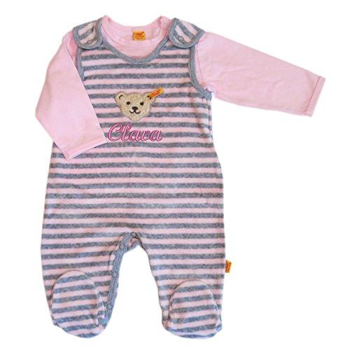 Steiff Nicki Strampler o. Arm mit Ihrem Wunschnamen bestickt und T-Shirt 1/1 Arm grau rosa gestreift barely pink 6722805 Set 2tlg. (56)