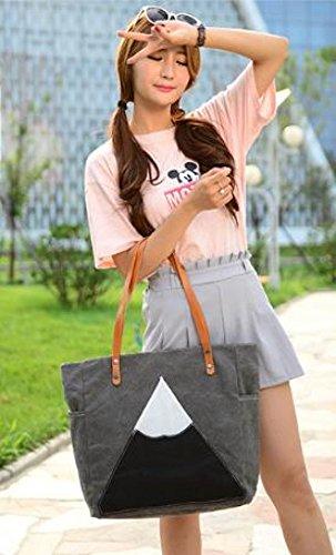 Frauen-Segeltuch-Tote Beiläufige Handtasche Schlagen Farben-Schulter-Beutel Große Kapazitäts-Dame Bag Gray
