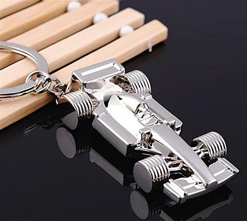 SHOPEE BRANDED Silver Metallic Formula One Car Shape Keychain Key holder for Car/Bike  available at amazon for Rs.175