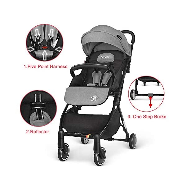 Ydq Foldable Baby Pushchair,Lightweight Baby Pram Pushchair Buggy Travel Stroller Plume Ydq TRAVEL ANYWHERE - Airplane travel stroller designed for airplane overhead compartment. It's super compact when folded. With extendable pull rod, it could be dragged anywhere you go with no effort instead of lifting it with your hand. COMFORTABLE SEAT - Lightweight pushchair with reclining backrest enables your baby to rest better in the well-padded seat. The pads on the headrest will help keep your baby's head in position even if it's asleep. The angle of legs support could also be adjusted, providing the most joyful ride for your baby. EASY USAGE - One-hand foldable buggy makes taking your baby for travels or walks a simple pleasure. It could stand on its own so you could take care of your baby with less things to worry about. 4