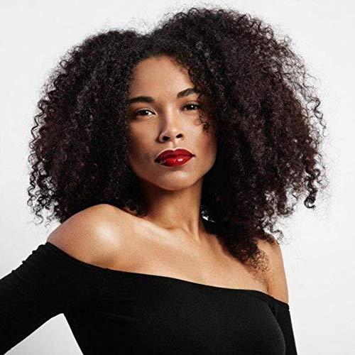 WL9302 Perücke, lockiges Haar, für schwarze Frauen, lockige Perücke, Afro-Perücke, Echthaar, Lace-Perücke, mit Pony, Braun - Afro-echthaar Perücken