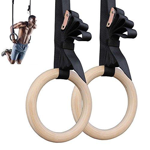 lauko Wind ABS anillos de gimnasia para puerta ancla & entrenamiento Guide–Gimnasia Olímpica Turn anillos de madera y correas + marcas Turner anillos anillos de gimnasia Crossfit Anillas Niños Adultos, Weiß