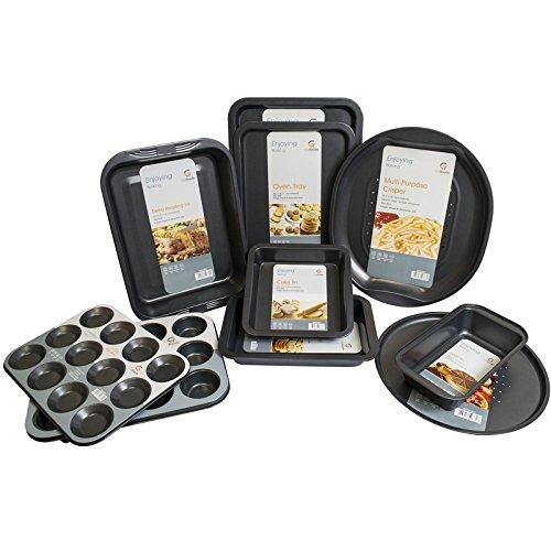 Get Goods Easy Baking Non Stick Oven Tray Sets - Carbon Steel - Safe Up To 230°C - Fridge / Freezer / Dishwasher Safe (10 Piece Set)
