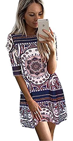 Longwu Women 3/4 Sleeve A-line Bohemian Vintage Printed Casual Cocktail Dress Blue-L