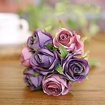 Flores Artificiales Home Furnishing Flores Decorativas Novia Sosteniendo La Cabeza De La Flor Con 7 Rosas Flores Flores,Violeta