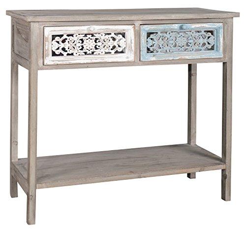 elbmöbel Konsole Beistelltisch braun antik Landhaus Shabby chic Anrichte Sekretär Holz weiß Schublade beige massiv Tisch