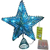 "10 ""Turquesa elástico Estrella Con Blanco Luces Led - Christmas Tree Top Star / Decoración de Navidad"