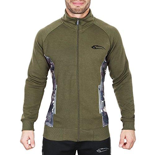 SMILODOX Sportjacke Herren | Zip Hoodie für Sport Training & Freizeit | Trainingsjacke - Laufjacke – Fitnessjacke - Sportpullover Sweatshirt mit Reißverschluss, Größe:S, Farbe:Olive