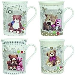 Novastyl 8010449 juego de 6 tazas de porcelana de oso con tarta de 8 cm x 6 cm x 11 cm