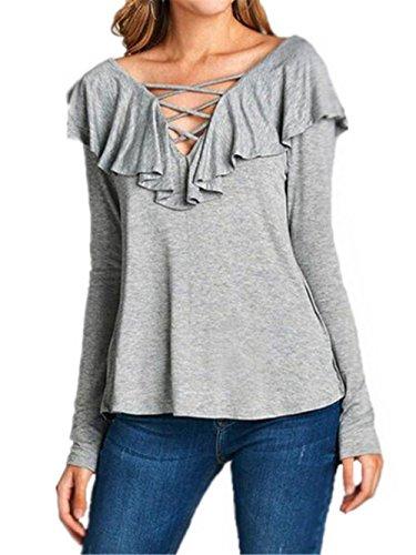 AILIENT T-Shirt Donna Camicetta Maglietta T-Shirt Maglia Blusa Manica Lunga Moda Tops Sexy Ufficio Collo V Casual Light Gray